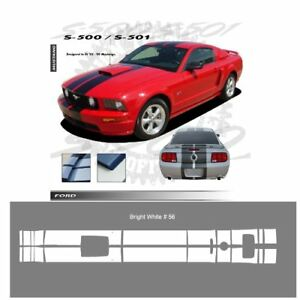 Ford Mustang Gt 2005 2009 W Hood Scoop Stripes Graphic Kit Bright White