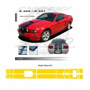 Ford Mustang Gt 2005 2009 W Hood Scoop Stripes Graphic Kit Bright Yellow