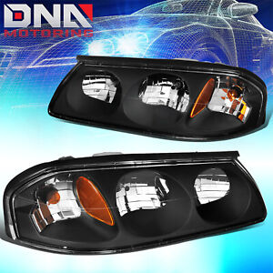 For Chevy Impala 2000 2005 Ls ss Black Housing Amber Corner Signal Headlights