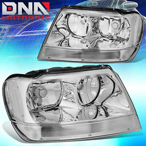 For Jeep Grand Cherokee 99 04 Wj Laredo Limited Chrome clear Headlights 4x4