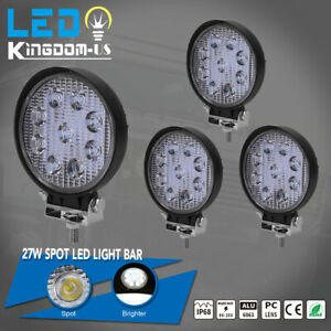 4pcs 4 Inch 27w Round Spot Led Work Light Fog Lamp Offroad Driving Suv Ute 4wd