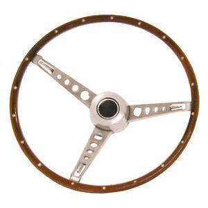 Steering Wheel Assembly 65 66 Mustang woodgrain with Cap Assembly