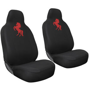Car Seat Covers For Ford Mustang Wild Red Horse Logo W Integrated Head Rest