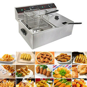Commercial Cooking Electric Deep Fryer Double Stainless Steel Oil Tank 5000w New