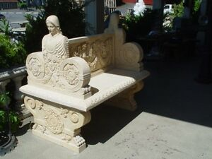 Nice Hand Carved Marble Figural 2 Seated Bench B2