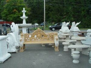 Beautiful Hand Carved Marble Lion Garden Bench Ns48