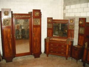 Beautiful Inlaid Antique Italian Bronze Cherub Bedroom Set Armoire 11it099a