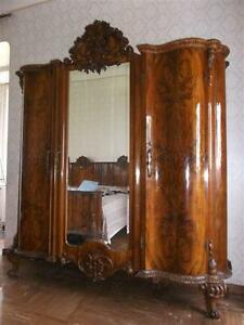 Beautiful Italian Burled Walnut Bedroom Set Armoire 14it027a