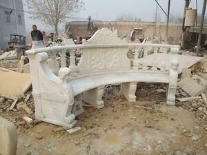 Hand Carved Marble Figural Garden Bench Ly046