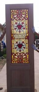 Custom Design Hand Made Mahogany Wood Stained Glass Cross Entry Door Jh367