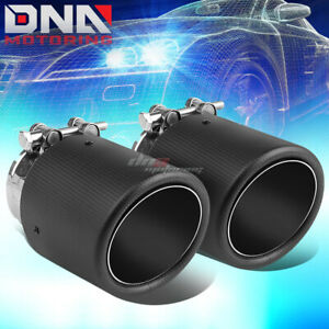 Pair 2 4 Inlet 4 Slant Outlet Carbon Fiber Pattern Racing Muffler Exhaust Tip