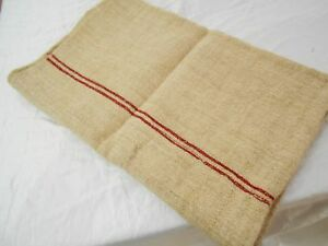 Perfect Vtg Antique Red Stripe European Hemp Linen Feed Sack Grain Bag 21x52
