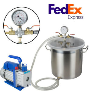 Usa 5 Gal Stainless Steel Vacuum Degassing Chamber Silicone Kit