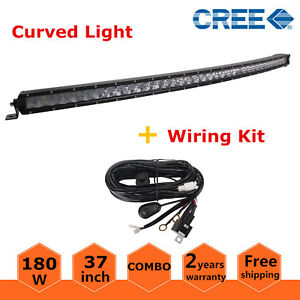 37 180w Slim Curved Led Work Light Bar Combo Offroad Truck Single Row wiring