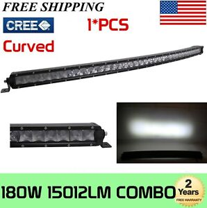 37inch Curved Led Light Bar 180w Offroad Cree Slim Single Row Combo Rzr 38 40