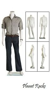 Planet Racks Molded Plastic Headless Male Mannequin With Glass Base