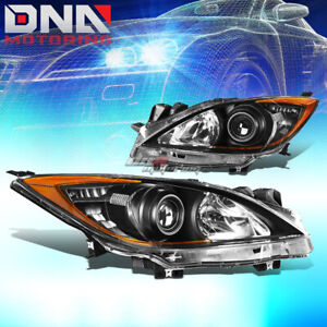 For 10 13 Mazda 3 Black Housing Amber Side Projector Headlight Oe Replacement