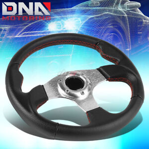 320mm Silver Red Lightweight Racing Steering Wheel Fit 70mm 6 Bolt Hub Adapters