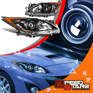 For 10 13 Mazda 3 Left right Black Bumper Amber Side Projector Headlights Pair
