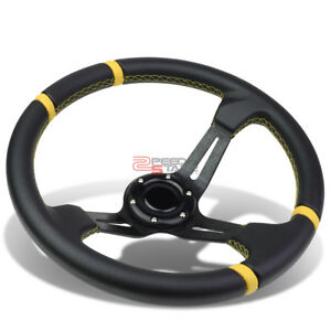 Fit 70mm 6 bolt Hub Adapter 350mm Universal Conotur Black Yellow Steering Wheel