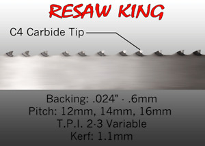 1 2 X 12 14 16mm Vari Tooth Pitch X 133 Resaw King Carbide Tip Bandsaw Blade