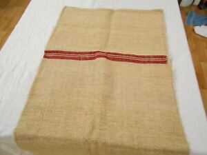 Perfect Vtg Antique Red Stripe European Hemp Linen Feed Sack Grain Bag 19x48