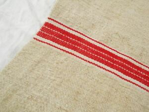 Vtg Antique Red Stripe Primitive Hemp Linen Fabric Feed Sack Grain Bag 20x44