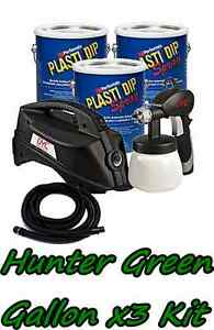 3 Gallons Hunter Green Performix Plasti Dip Dyc Dipsprayer Gun Bundle Package