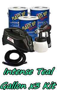 3 Gallons Intense Teal Performix Plasti Dip Dyc Dipsprayer Gun Bundle Package
