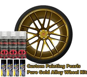 Dyc Plasti Dip Pearl Wheel Kit 4 Matte Black 3 Pure Gold Alloy Aerosol Cans