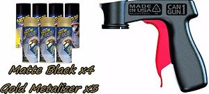 Performix Plasti Dip Premium Wheel Kit 4 Matte Black3 Gold Metalizer Cans V grip