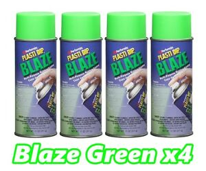 Performix Plasti Dip Blaze Green 4 Pack Rubber Coating Spray 11oz Aerosol Cans