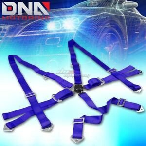 Universal 6 point 3 Blue Nylon Strap Harness Safety Camlock Racing Seat Belt