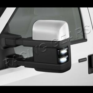 Fit Ford F250 F350 Superduty Smoke Lens Side Mirror White Led Turn Signal Lights