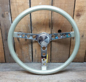 Vtg Style Silver Metalflake Steering Wheel Rat Hot Rod Custom Gasser Lowrider H