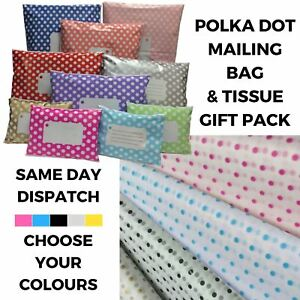 Polka Dot Tissue Paper Mailing Bag Mix Pack Polythene Post Gift Wrapping Kit