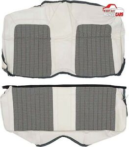 1969 Chevrolet Camaro Deluxe White Houndstooth Hardtop Rear Seat Covers