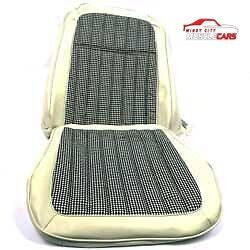 1969 Chevrolet Camaro Deluxe White Houndstooth Bucket Seat Covers Pair Set 2