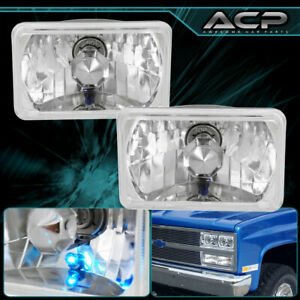 4x6 Halogen Sealed Beam Crystal Clear Lens Headlights Conversion With H4 Bulbs