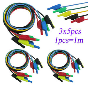 15pcs 4mm Cleqee Test Cable Lead Safety Banana To Banana Plug Line Pluggable 15m