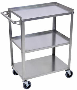 Offex Stainless Steel 3 Shelf Utility Cart