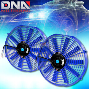 2x14 Blue Universal Performance Electric Radiator Cooling Fans Assembly Kit