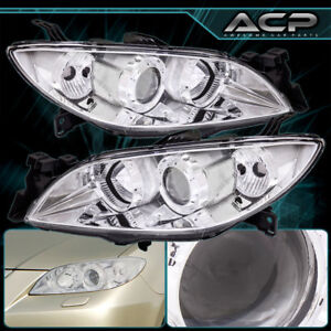 Headlight 04 09 Mazda 3 Chrome Housing Clear Reflector Clear Lens Projector