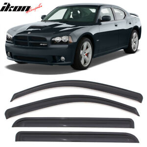 Fits 06 10 Dodge Charger Tape On Window Visors Smoked 4pc