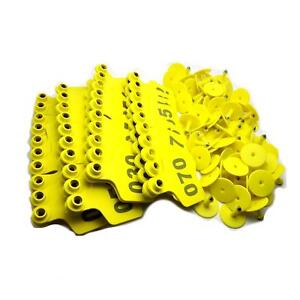 Us Stock 100x Yellow 001 100 Number Plastic Livestock Ear Tag 3 X 2 4 For Cow