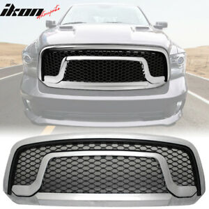 Fits 13 18 Dodge Ram 1500 Rebel Style Mesh Honeycomb Grill Grille Chrome Abs
