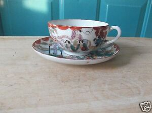 Vintage Porcelain Cup And Saucer Set With Japanese Design