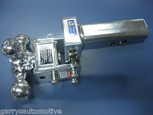 B W Chrome Tow Stow Tri Ball Hitch Receiver 1 7 8 2 2 5 16 Ts10047c Adjustable