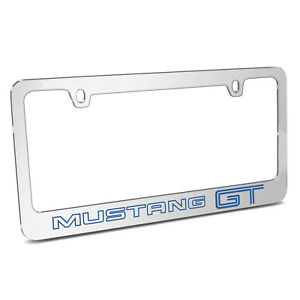 Ford Mustang Gt Outline In Blue Chrome Metal License Plate Frame