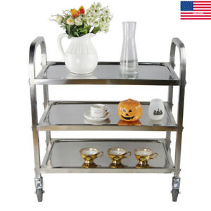 Stainless Steel 3tier Kitchen Serving Cart Catering Trolley Storage Shelf Dinner